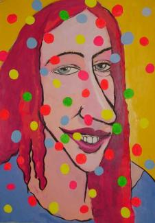 Amy R. with colored balls 2001-2